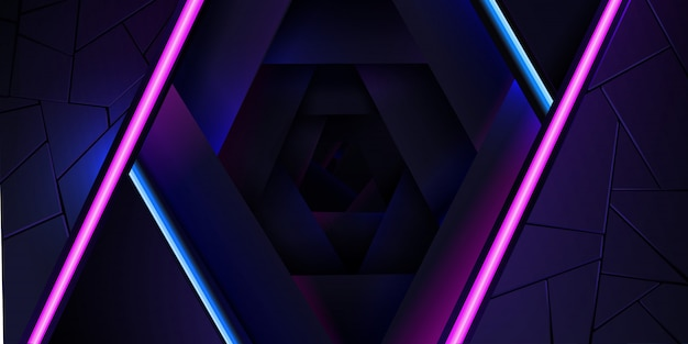 El fondo de neón abstracto con una línea de luz azul y rosa y una textura.