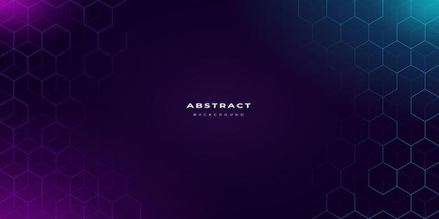 Fondo de neón abstracto con patrón hexagonal