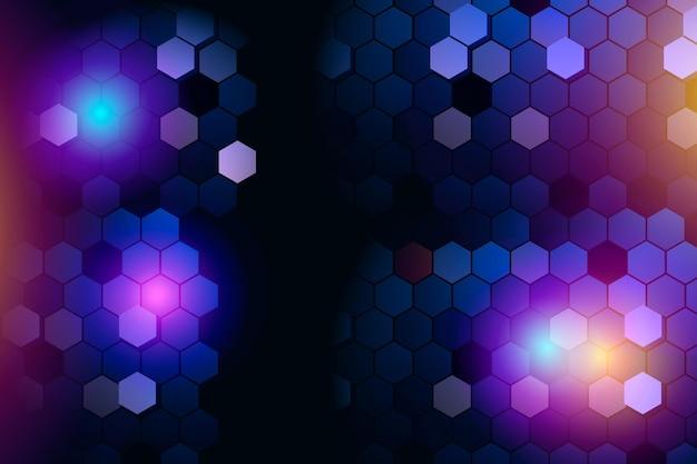 Fondo de neón hexagonal