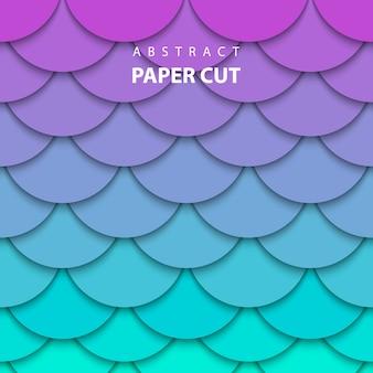 Fondo neón lila y papel turquesa cortado.