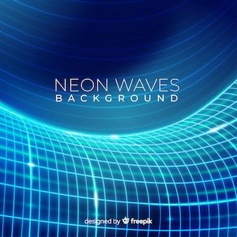 Fondo neón ondas azules futuristas