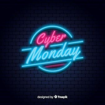 Fondo neón de rebajas de cyber monday