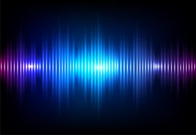 Fondo de neón de sonido de onda.