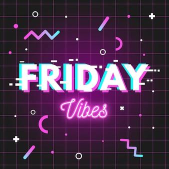 Fondo de neón de vibraciones de viernes