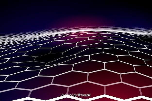 Fondo neto futurista hexagonal