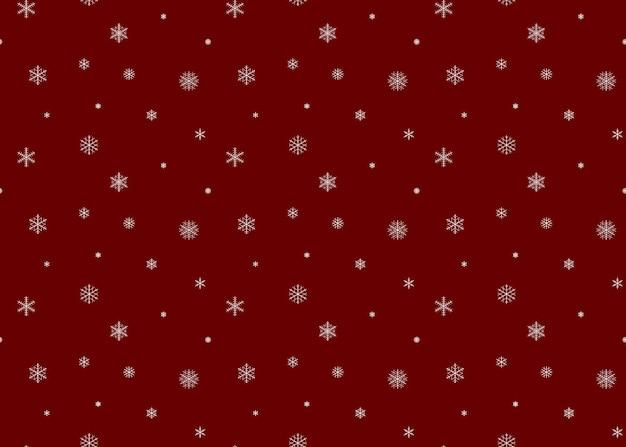 Fondo de nieve color rojo. patrón sin fisuras de los copos de nieve.