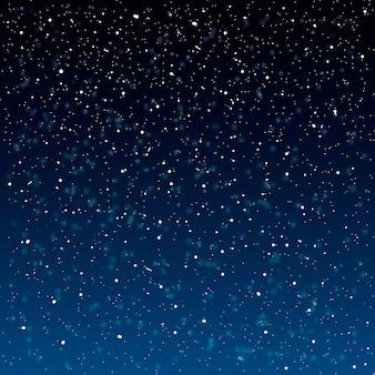Fondo de nieve que cae. ilustración con copos de nieve. cielo nevando de invierno.