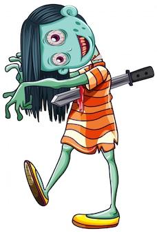Fondo de niña espeluznante zombie blanco