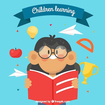 Fondo de niña con gafas leyendo