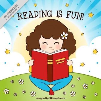 Fondo de niña leyendo en el campo