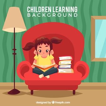 Fondo de niña en un sillón leyendo
