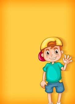 Fondo con niño feliz saludando