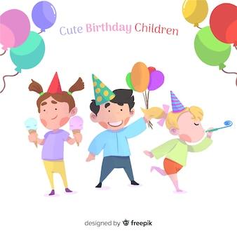 Fondo de niños adorables en cumpleaños