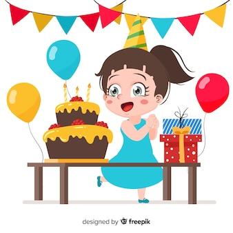 Fondo de niños de cumpleaños en diseño plano