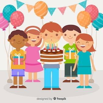 Fondo de niños de cumpleaños
