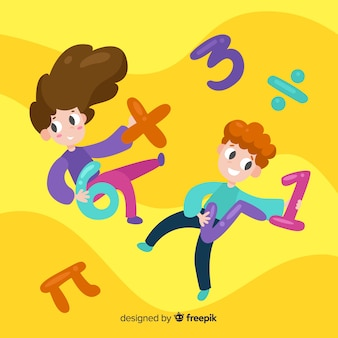 Fondo niños dibujos animados concepto matemáticas