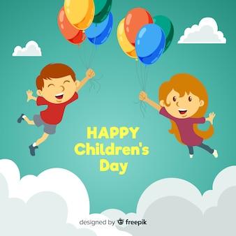 Fondo niños flotando día del niño