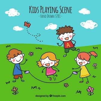 Fondo de niños jugando en el campo dibujados a mano