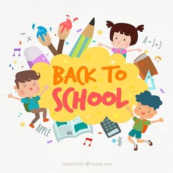 Fondo con niños y material escolar