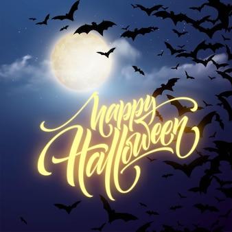 Fondo de noche brillante de halloween con la luna, murciélagos. caligrafía, rotulación. ilustración de vector eps10