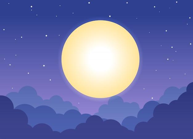 Fondo de noche cielo nublado