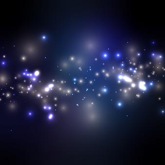 Fondo de noche estrellada con luces navideñas