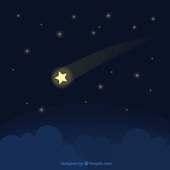 Fondo de noche de estrellas fugaz