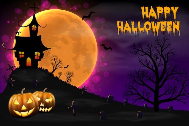 Fondo de la noche feliz halloween con casa embrujada.