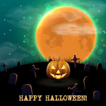 Fondo de la noche feliz halloween con cementerio viejo y aterrador