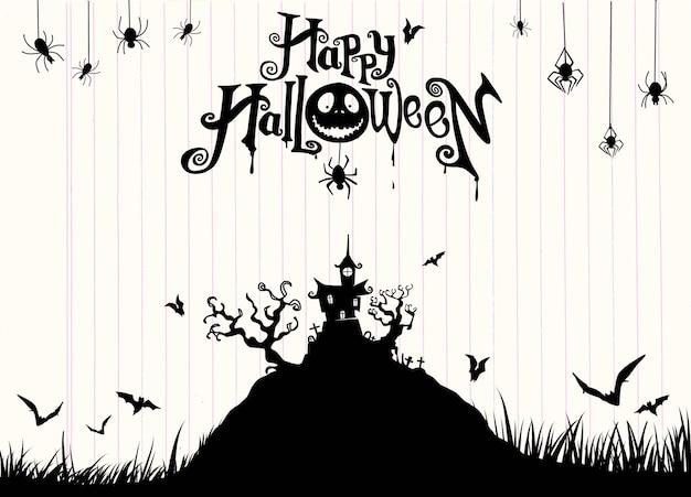 Fondo de la noche de halloween con calabaza, casa embrujada. flyer para fiesta de halloween