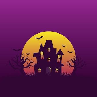 Fondo de la noche de halloween con casa embrujada y murciélagos volando alrededor de la luna llena con espacio de copia