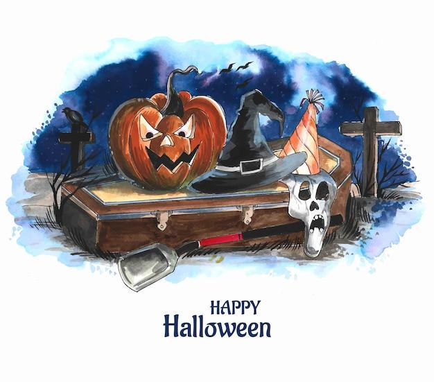 Fondo de la noche de halloween con un cementerio y calabazas