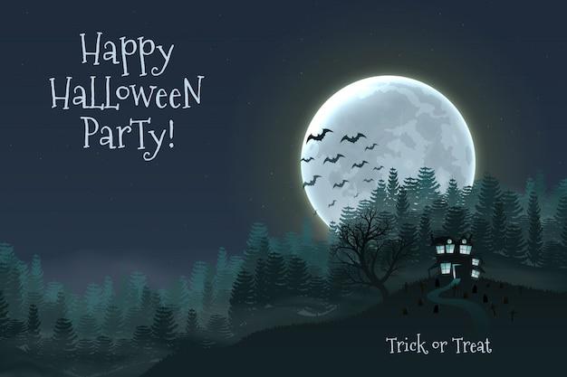 Fondo de la noche de halloween feliz con casa de miedo embrujada.