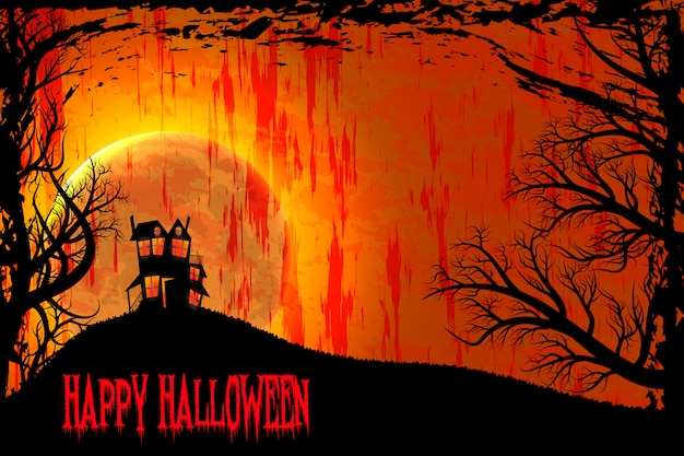 Fondo de la noche de halloween feliz. estilo grunge