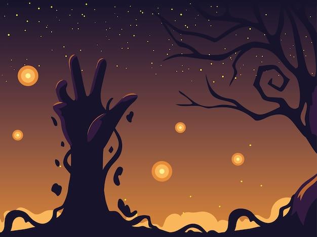 Fondo de noche de halloween con mano zombie