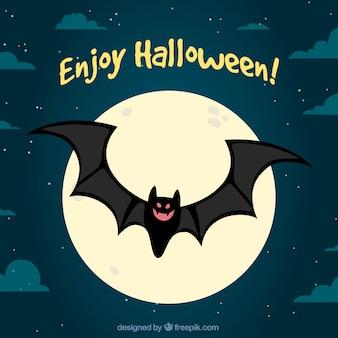 Fondo de noche de halloween con murciélago