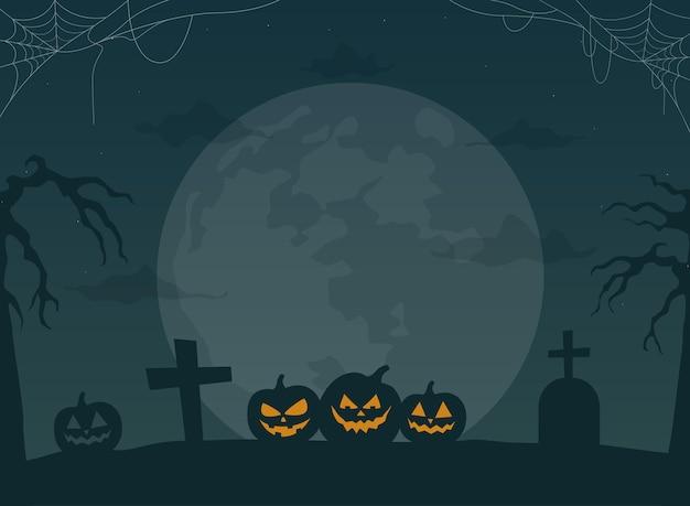 Fondo de la noche de halloween paisaje aterrador con luna y calabazas ilustración vectorial