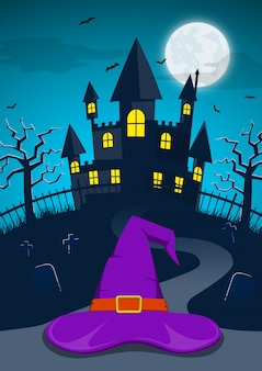 Fondo de noche de halloween con sombrero de bruja y castillo encantado