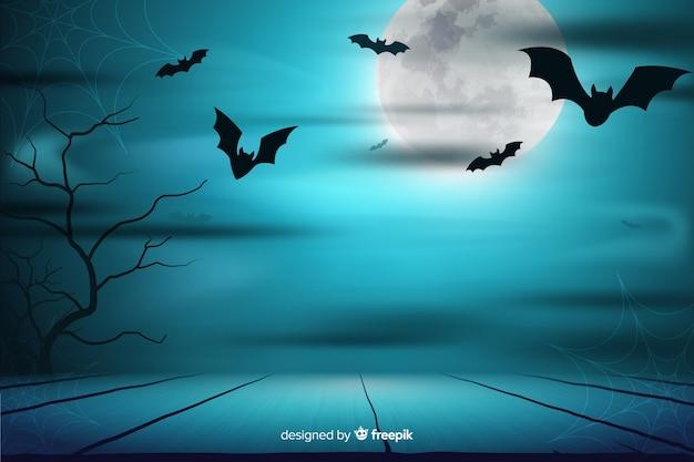 Fondo de noche de luna llena y murciélagos