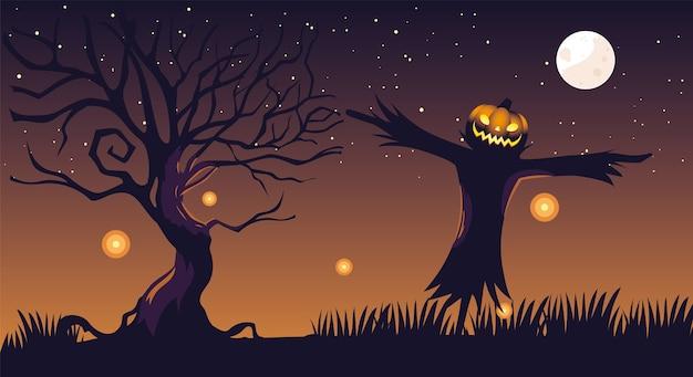 Fondo de noche oscura de halloween con espantapájaros y luna llena
