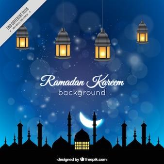 Fondo de noche de ramadan con farolillos iluminados