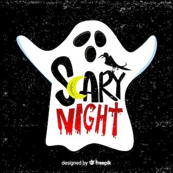 Fondo de noche de terror de hallowing con tipografía y fantasma