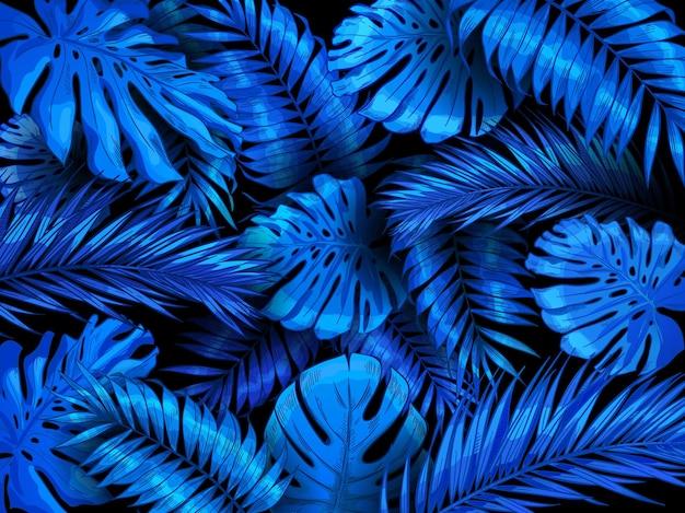 Fondo de noche tropical. hojas exóticas de la selva azul