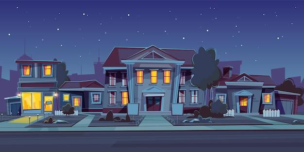 Fondo nocturno con alquiler de casa.