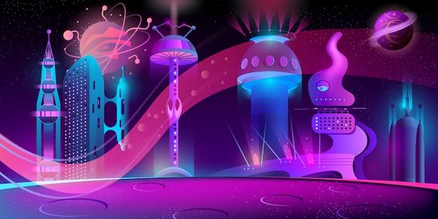 Fondo nocturno con ciudad futurista extraterrestre