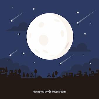 Fondo nocturno con luna y lluvia de meteoritas