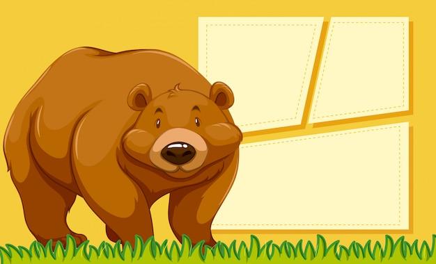 Fondo de nota en blanco de oso pardo