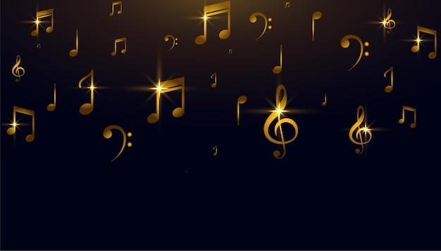 Fondo de notas doradas de sonido de música hermosa