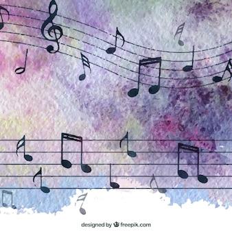 Fondo con notas de música elegantes