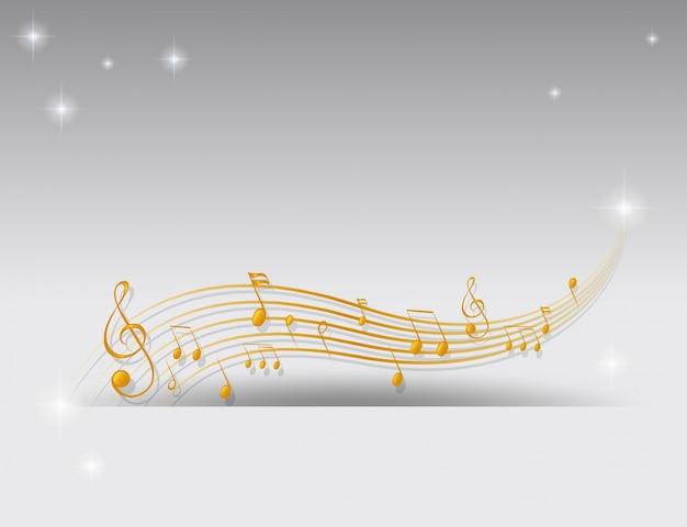 Fondo con notas musicales doradas